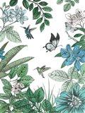 Butterflies and Flowers I Art Print
