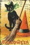 Halloween Nostalgia Cat with Broom Art Print