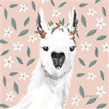 Delightful Alpacas I Floral Crop Art Print