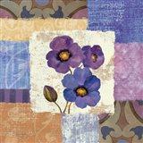 Tiled Poppies II - Purple Art Print