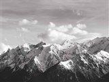 Snowcapped Mountains BW Crop Art Print