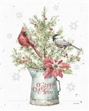 A Christmas Weekend II with Chickadee Art Print