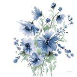 Secret Garden Bouquet I Blue Art Print