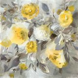 Floral Uplift Yellow Gray Art Print