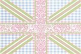 Union Jack, Blue, Green and Pink Art Print