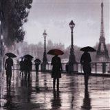 Paris Red Umbrella Art Print