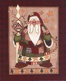 Patchwork Santa Art Print
