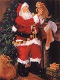 Santa With Puppy Art Print