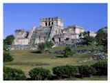 Ancient building ruins, El Castillo, Tulum Mayan Art Print