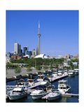 Boats docked at a dock, Toronto, Ontario, Canada Art Print