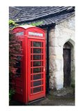Telephone booth outside a house, Castle Combe, Cotswold, Wiltshire, England Art Print