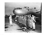 Group of army soldiers standing in a row near a fighter plane, B-29 Superfortress Art Print