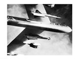 Low angle view of a bomber plane carrying missiles during fight, AGM-28 Hound Dog, B-52 Stratofortress Art Print