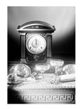 Clock showing 12 o'clock with champagne flutes and party hats in the foreground Art Print