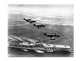 High angle view of four fighter planes flying over an aircraft carrier, US Navy Banshees, USS Coral Sea (CV-43) Art Print