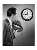 Businessman looking at clock Art Print