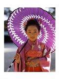 Portrait of a girl holding a parasol, Shichi Go San, Japan Art Print