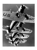 Low angle view of five fighter planes flying in formation Art Print