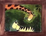 Brown Giraffe and Zebra Art Print