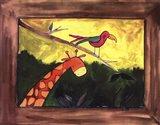 Brown Giraffe with Bird Art Print