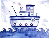 Blue Tugboat Art Print
