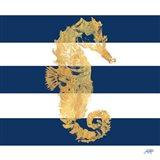 Gold Seahorse on Stripes I Art Print