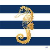 Gold Seahorse on Stripes II Art Print