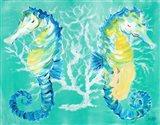Seahorses on Coral Art Print