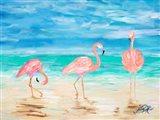 Flamingo Beach I Art Print