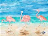 Flamingo Beach II Art Print