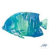 Watercolor Fish in Teal IV Art Print