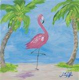 Fancy Flamingos I Art Print