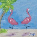 Fancy Flamingos IV Art Print