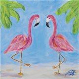 Fancy Flamingos III Art Print