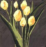 Yellow Tulips On Gray Square Art Print