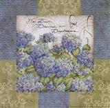 Flowers on Blue I Art Print